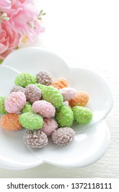 Japanese confectonery, color almond candy