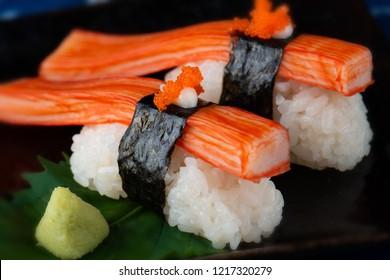 Japanese crab stick or kani sushi serve.