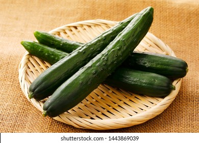 Japanese cucumber on bamboo strainer