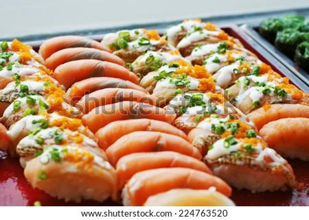 Japanese Cuisine  Buffet Catering Style Sushi Set In Restaurant   Salmon  Maki Sushi And Nigiri