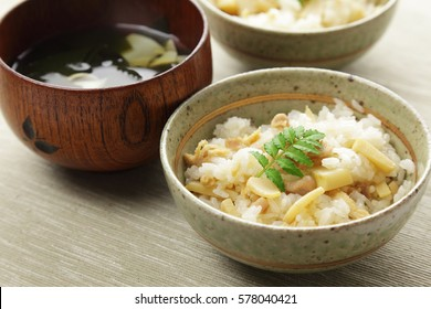 Japanese cuisine, Cooked rice with bamboo shoots and clear soup with bamboo shoots and wakame seaweed