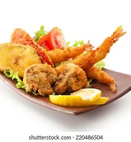 Japanese Cuisine - Deep Fried Shrimps, Vegetables and Mushrooms
