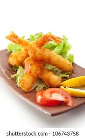 Japanese Cuisine - Ebi Tempura (Deep Fried Shrimps) with Vegetables