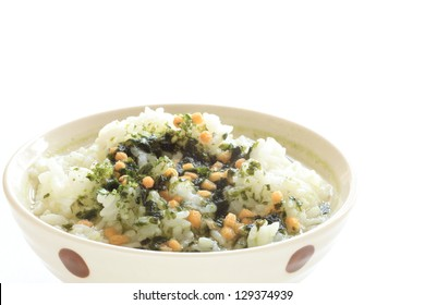 Japanese cuisine, green tea rice with laver on white background