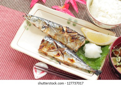 Japanese cuisine, grilled a Pacific saury Samma for autumn food image