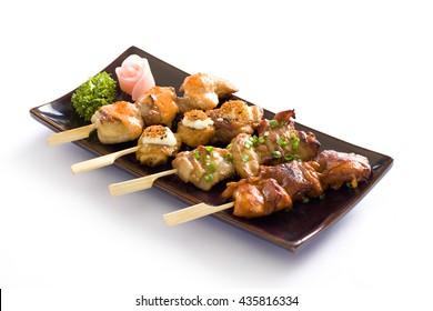 Japanese cuisine Grilled ,various kind of teriyaki skewers Yakitori.
