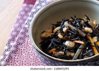 Japanese cuisine, nimono,simmered Hijiki seaweed