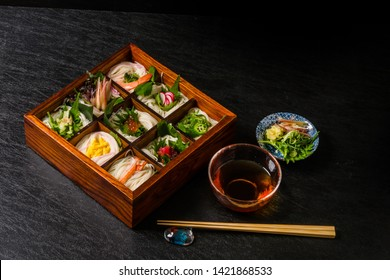 Japanese cuisine noodles and sushi