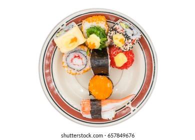 Japanese cuisine, on isolated white background.