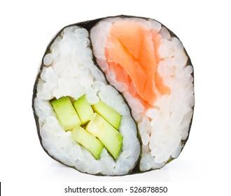 Japanese cuisine. One peace of sushi roll isolated on white background. Yin Yang.