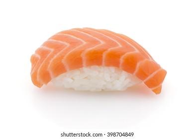 Japanese cuisine. Salmon sushi nigiri isolated on white background.