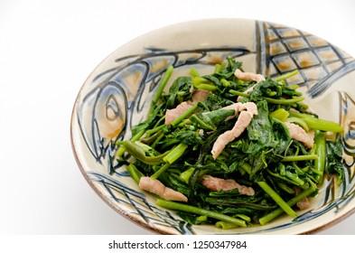 Japanese cuisine, Stir-fried Chinese Morning Glory with pork