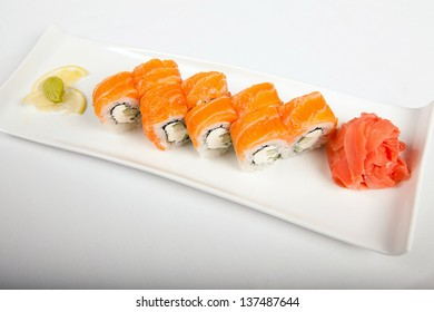 Japanese Cuisine - Sushi Roll with Cucumber, Cream Cheese