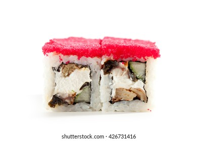 Japanese Cuisine - Sushi Roll with Eel, Cucumber and Cream Cheese inside. Topped with Masago (fish roe)