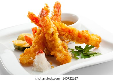 Japanese Cuisine - Tempura Shrimps (Deep Fried Shrimps) with Vegetables