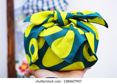 Japanese culture item, Furoshiki for wrapping gift and lunch box image yellow color and blue color
