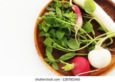 Japanese culture, turnip and herbal for new year food  congee cooking image