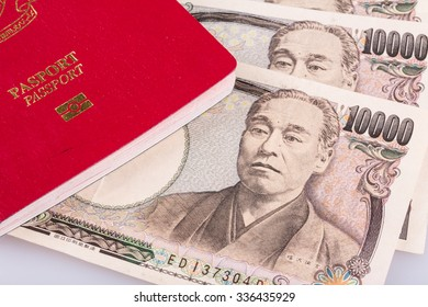 Japanese currency yen with passport