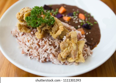 Japanese curry rice with karaage chicken.
