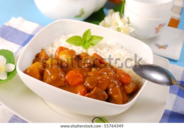 japanese curry rice with meat,carrot,onion and potato