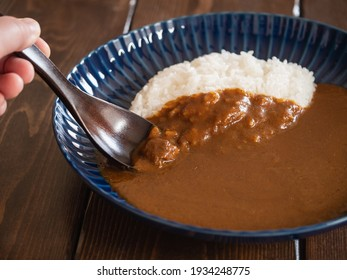 Japanese curry rice using solid roux.