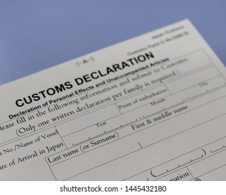 Japanese customs declaration form at airport counter