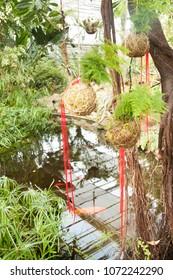 Japanese decorations in garden
