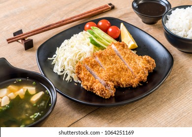 Japanese deep fried pork cutlet (tonkatsu set) - Japanese food style