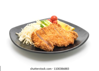 Japanese deep fried pork cutlet (tonkatsu set) isolated on white background