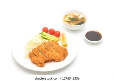 Japanese deep fried pork cutlet (tonkatsu set) isolated on white background