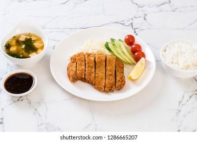 Japanese deep fried pork cutlet (tonkatsu set) - Japanese food style