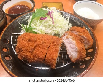 Japanese deep fried pork cutlet (tonkatsu set). Tonkatsu, Japanese pork cutlet. Deep fried pork cutlet. Japanese deep fried pork cutlet (tonkatsu set).