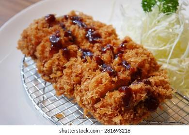 japanese deep fried pork cutlet or tonkatsu, Japanese food