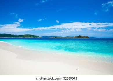Japanese deserted tropical islands on horizon