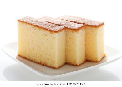 Japanese dessert castella served on a white plate