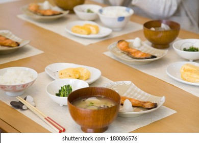 Japanese Dining table lined with breakfast