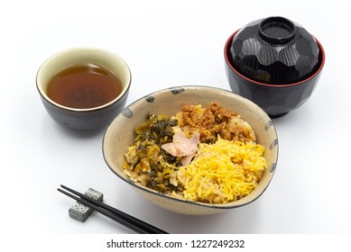 japanese dish and miso soup on white background