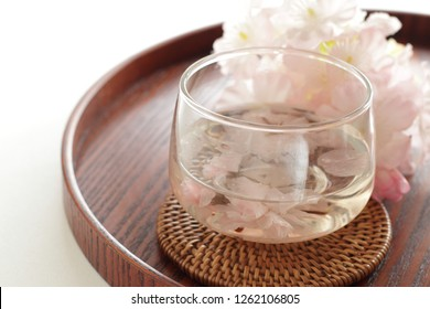 Japanese drink, Cherry blossom tea for spring food image