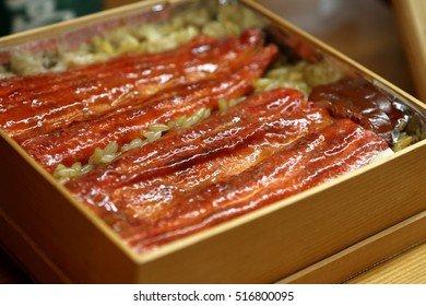 Japanese eel cooked in Nagoya style in a lunch box