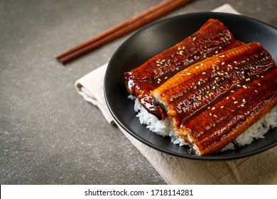 Japanese eel grilled with rice bowl or Unagi don - Japanese food style