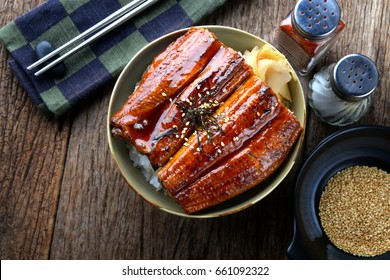 Japanese eel grilled with rice or Unagi don set on plate in Japanese style with studio lighting.