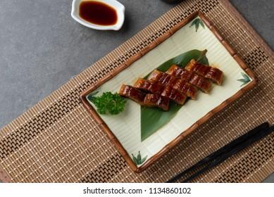 Japanese eel grilled or Unagi ibaraki set on plate