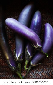Japanese eggplant in a basket