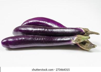 Japanese eggplant on white background