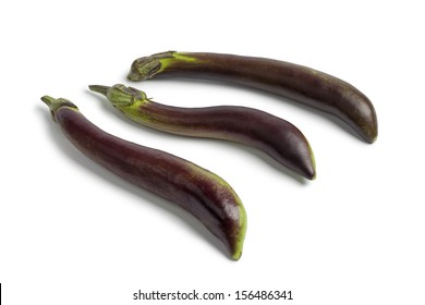 Japanese eggplants on white background