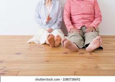 Japanese elderly couple relax