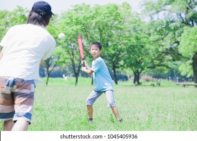 Japanese elementary school students to the baseball