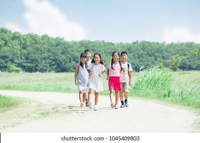 Japanese elementary school students in the way to and from school