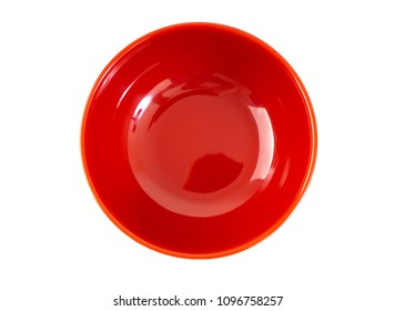 Japanese empty red bowl on white background in top view.
