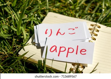 Japanese and English; Learning New Language with Handwritten Flash Cards. Translation; Apple